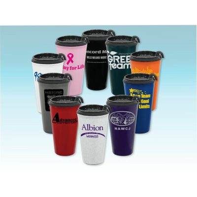 16 Oz. Double Wall Insulated Travel Tumbler w/ Black Slider Lid