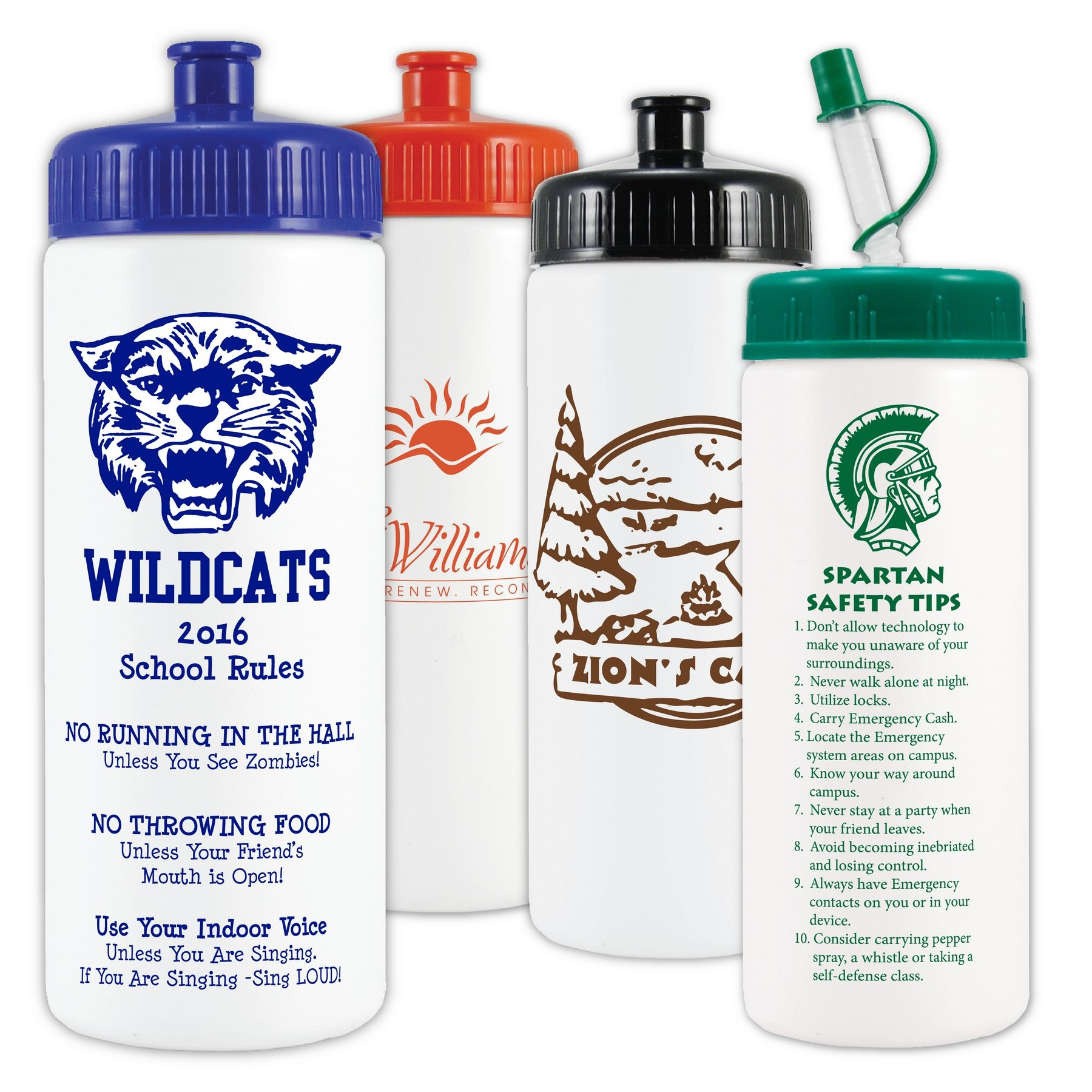 16 Oz. White Sports Bottle