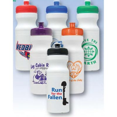 24 oz. White Bike Bottle w/ Colored Push Pull Cap