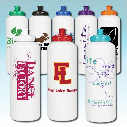 32 Oz. White Sports Bottle with 53mm Push Pull Cap