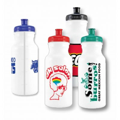 20 Oz. White Bike Bottle w/ View Stripe & Oz. Markings