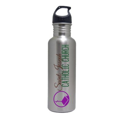 25 Oz. Stainless Steel Water Bottle w/ Black Loop Lid